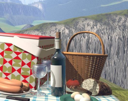 Was braucht es für ein Picknick? Monica Studer & Christoph van den Berg generieren aus Klischees Bilder. Inkjet-Print von 2002