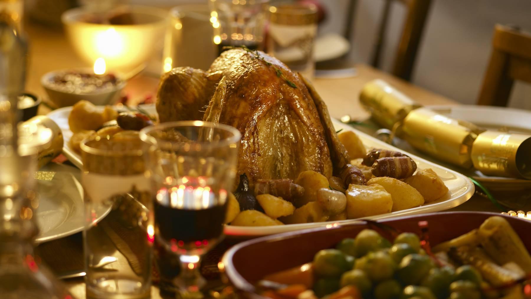 Weihnachtsessen Tisch Turkey