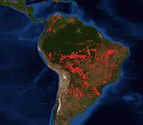 Waldbrände in Südamerika, Stand 23. August 2019. Die meisten Brände gibt es im Süden des Einzugsgebiets des Amazonas. Aber auch andere Regionen in Brasilien und weitere Länder in Südamerika sind betroffen.