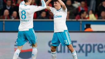 Die Schalker Alessandro Schöpf (rechts) und Leon Goretzka feiern in der 18. Minute bereits den dritten Treffer