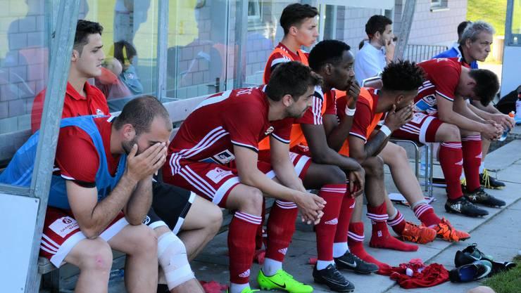 Grosse Enttäuschung auf der Badener Spielerbank nach der 2:4-Niederlage in Muri.