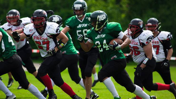 Die Defense der U19 Argovia Pirates in Aktion (Bild: Noaries Photography)