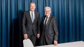 Landstatthalter und Baudirektor Stephan Attiger sowie Finanzdirektor Roland Brogli beim Interview in Aarau.