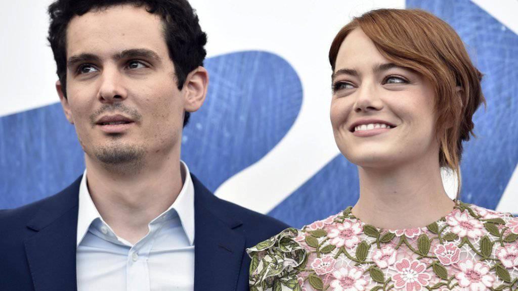 Hauptdarstellerin Emma Stone und Regisseur Damien Chazelle am Mittwoch auf dem Filmfestival Venedig, wo zur Eröffnung ihr Filmmusical «La La Land» gezeigt wurde.