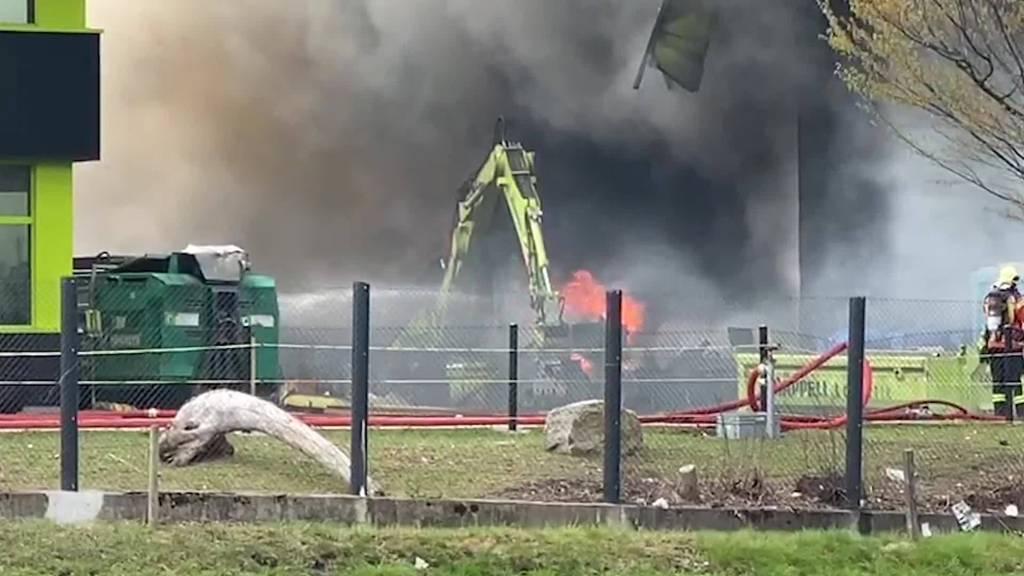 Brand Sargans: Recyclinghof nach Feuer Einsturz gefährdet