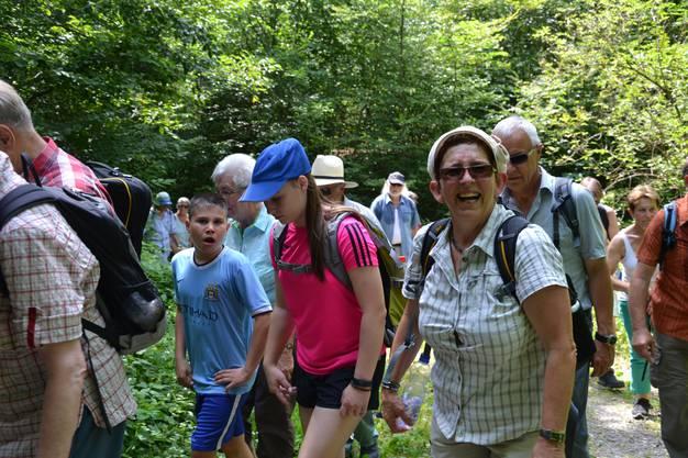 Die Wanderer genossen besonders die schattigen Abschnitte durch den Wald.