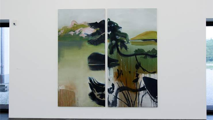 Kiefern am See (2016, Öl auf Leinwand). Die neue Ausstellung im Kunsthaus Grenchen ist der Künstlerin Roswita Kuhn und ihrer Familie gewidmet.