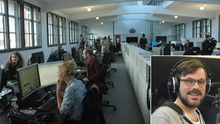 Simon Balissat wird bald hier in den Redaktionsräumen von Radio 24 arbeiten.