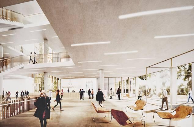 Viel Licht und helle Farben im neuen Kantonsspital Aarau. Die Visualisierung zeigt den Blick in die Eingangshalle mit Empfang.