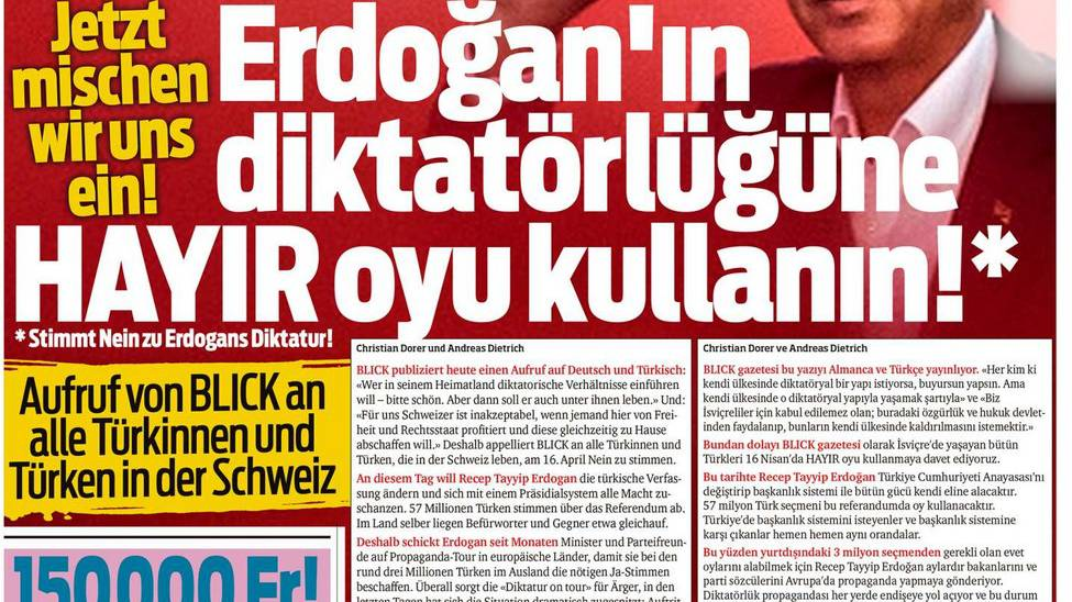 Der «Blick» lanciert Kampagne gegen Erdogan