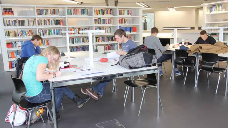 FHNW- und ETH-Studierende lernen in der neuen Campusbibliothek.