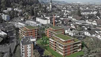 So soll sich Villmergen mit den vier Mehrfamilienhäusern des Projekts «Wohnen im Färbipark» dereinst präsentieren.