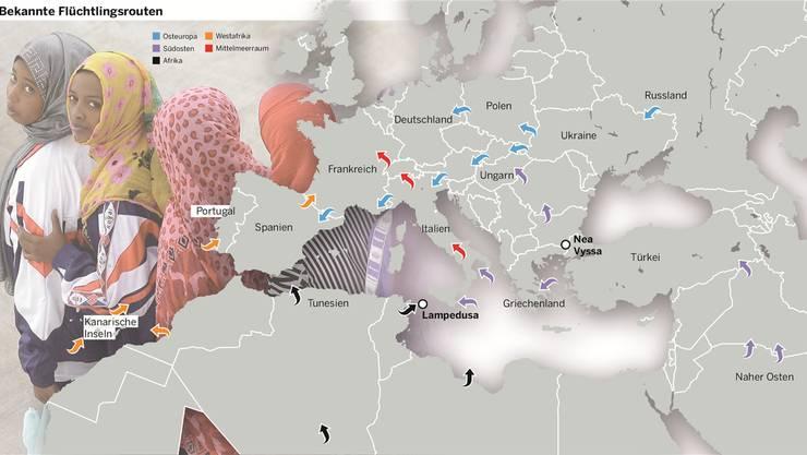 Die Karte zeigt die bekannten Flüchtlingsrouten. Mit dem Grenzzaun in Griechenland kommen Flüchtlinge vermehrt über Algerien, Lybien und Marokko nach Europa.
