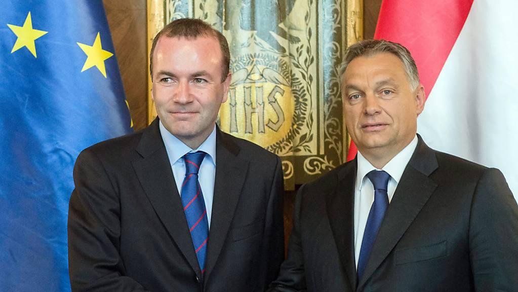 Viktor Orban (rechts), Ministerpräsident von Ungarn, gibt Manfred Weber, Vorsitzender der Fraktion der Europäischen Volkspartei (EVP), bei ihrem Treffen im Parlamentsgebäude die Hand.