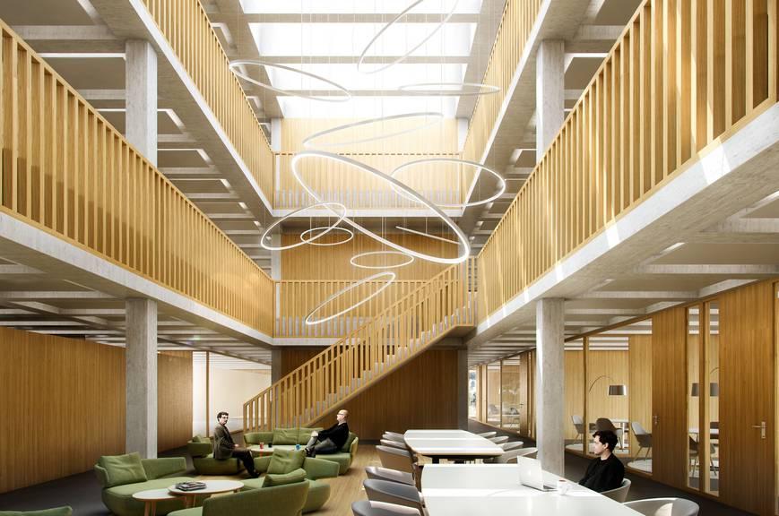 So soll der Neubau einst von innen aussehen. Weitere Visualisierungs-Bilder gibt es in der Bildergalerie. Bild: Oblamatik