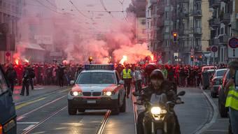 Borussia-Mönchengladbach-Fans in Zürich