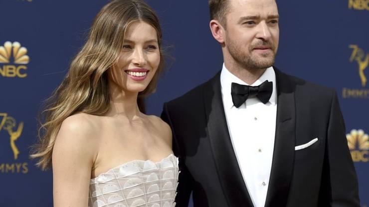 Justin Timberlake (r) hat seiner Frau Jessica Biel (l) zu deren 37. Geburtstag eine Liebeserklärung gemacht. (Archiv)
