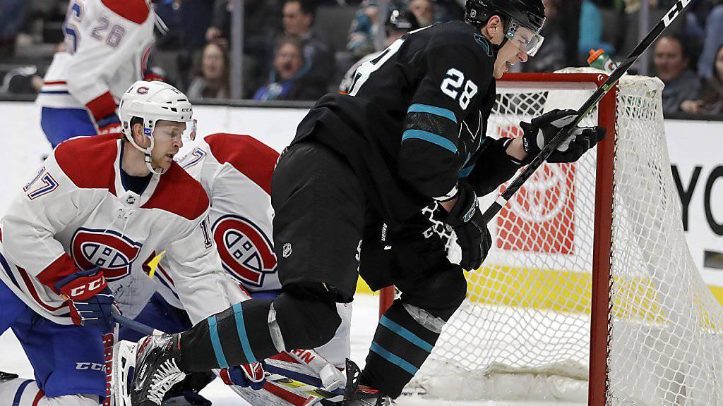 San-Jose-Stürmer Timo Meier gelang beim Sieg gegen die Montreal Canadiens ein sehenswerter Treffer, der 24. in dieser Saison