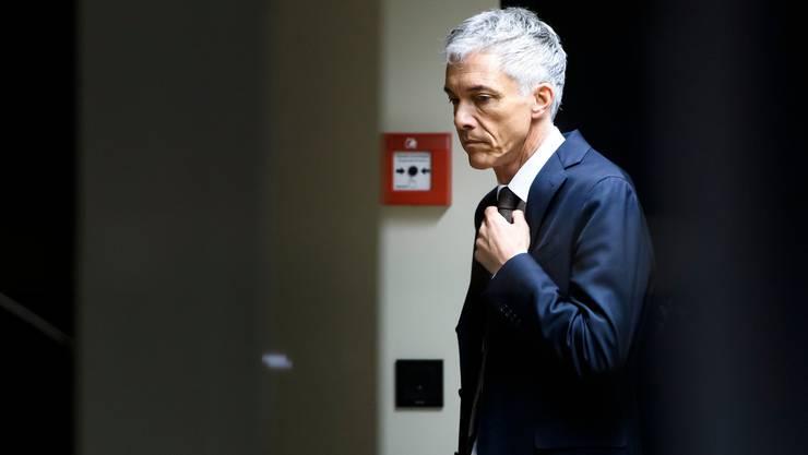 Michael Lauber am 13. Mai 2019 vor Anhörung der Geschaeftsprüfungskommission GPK. Gestern gab es keine Bilder von ihm, weil er durch die Hintertür kam und wieder ging. (KEYSTONE/Anthony Anex)