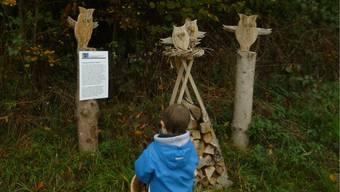 Die Waldkäuze aus Holz, ein Werk der Hubel-Meteorologen, sprechenzu den Kindern. Die Lesekundigen lesen auf der Tafel, was die Käuze sagen. lmb