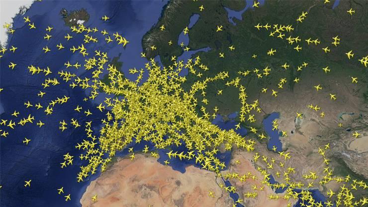 So sah es gestern früh über dem europäischen Flugraum aus.