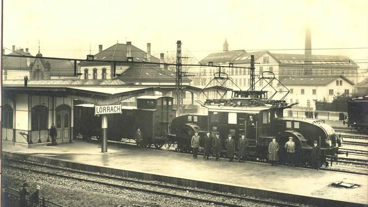 Aufnahme vom Bahnhofsgelände des Lörracher Bahnhofs