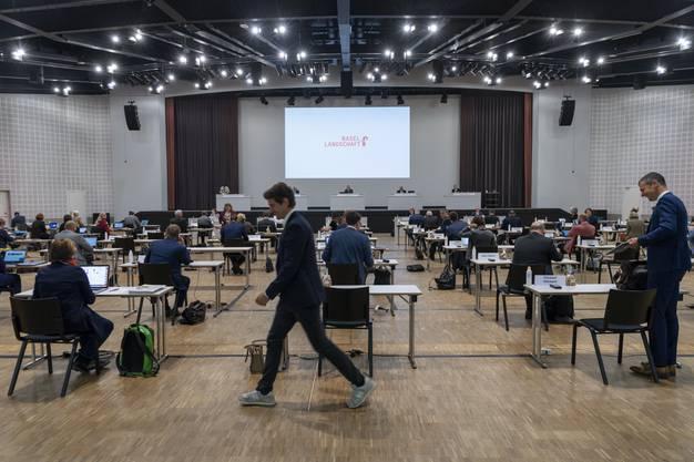 Der Landrat tagt wegen den Vorsichtsmassnahmen gegen das Coronavirus im Congress Center in Basel, am Donnerstag,