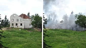 Das ehemalige Wohnhaus auf dem Bettlachstock vor und nach der Sprengung.