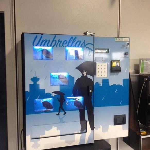 Schirm-Automat: Bis man vor diesem Automat steht, ist man vermutlich schon ziemlich nass.