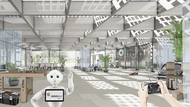 Futuristisch: Die «Werk-Lobby» soll grosszügig Platz für alle Bewohner bieten und auch als Coworking Space genutzt werden können. (Visualisierung)