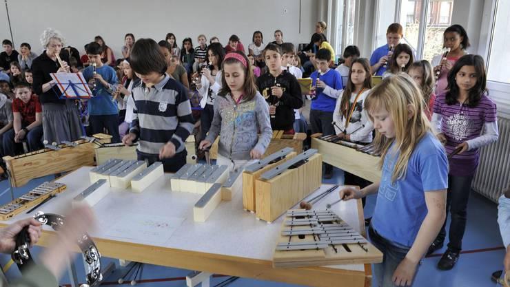 Grosser Einsatz: Der Chor und Instrumentalisten der Mittelstufe.