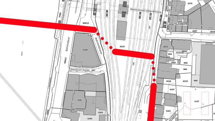 Das wäre der mögliche Velotunnel unter den SBB-Gleisen des Bahnhofs Olten gewesen.