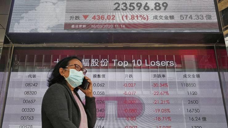 Die Börsen sind weltweit infiziert: In Hongkong stehen alle Zeichen auf rot.