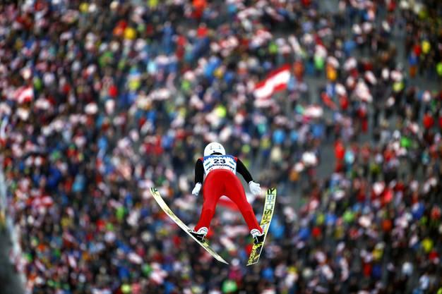 Simon Ammann (SUI) im 1. Durchgang des Weltcups im Skifliegen.