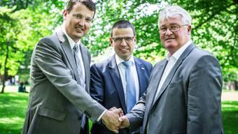 Die Aargauer Bürgerlichen gehen eine Listenverbindung ein. Im Bild die Parteipräsidenten Thomas Burgherr (SVP), Matthias Jauslin (FDP) und Markus Zemp (CVP).