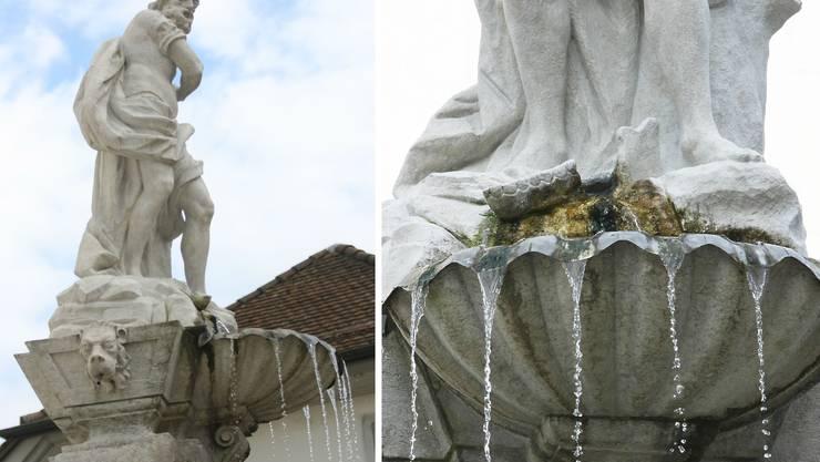 Der Eselskiefer (rechte Bildhälfte zu Füssen der Statue) hat die Tarnung des vermeintlichen Gedeon auffliegen lassen