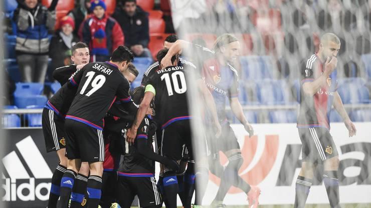 Jubel beim FCB nach der 1:0-Führung durch Luca Zuffi.