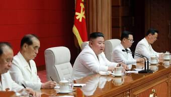 HANDOUT - Dieses von der staatlichen nordkoreanischen Nachrichtenagentur KCNA am 20.08.2020 zur Verfügung gestellte Foto zeigt Kim Jong Un (M), Machthaber von Nordkorea, während einer Plenarsitzung der Partei der Arbeit Koreas. Foto: -/KCNA/dpa - ACHTUNG: Nur zur redaktionellen Verwendung im Zusammenhang mit der aktuellen Berichterstattung und nur mit vollständiger Nennung des vorstehenden Credits