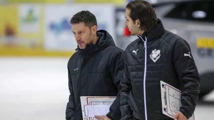 Trainer Chris Bartolone und Assistenztrainer / Goaliecoach Michael Tobler (Olten)