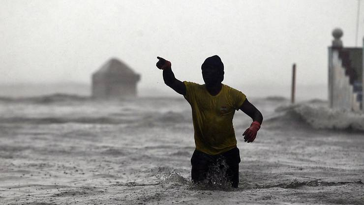 Ein überschwemmter Stadtteil von Havanna.