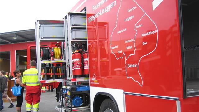 Das Einsatzgebiet der Feuerwehr Böttstein-Leuggern ist auf dem neuen Fahrzeug aufgemalt.