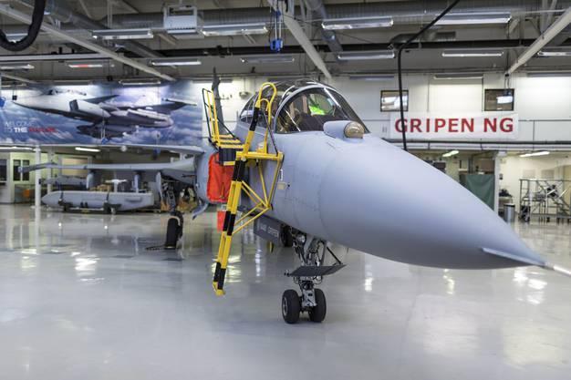 Ein soeben fertig gebauter Gripen im Saab-Werk im schwedischen Linköping.