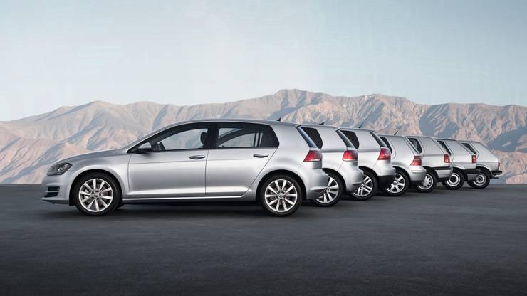 Alle sieben Generationen des VW Golf.