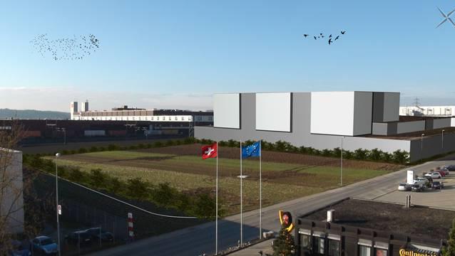 So wird sich das neue Tiefkühllager Ost nach der Realisierung präsentieren. In Hintergrund ist das Hauptgebäude der Migros Verteilbetrieb Neuendorf AG zu sehen.