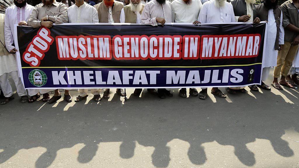 Protest in der bengalischen Hauptstadt Dhaka gegen die Verfolgung von Rohingya in Myanmar. (Aufnahme vom 22. November 2016)