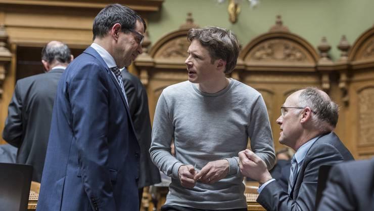 Die Aargauer Nationalräte Matthias Jauslin, FDP, Jonas Fricker, Grüne und Hansjörg Knecht, SVP (von links): Die AZ hat alle 18 Bundesparlamentarier nach ihrer Meinung zur Bundesratswahl gefragt.