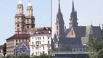 Geht es nach den Zürcher Verantwortlichen, könnten sich Zürich und Basel schon bald gemeinsam bei ausländischen Unternehmen vermarkten. Im Bild das Zürcher Grossmünster (links) und das Basler Münster.