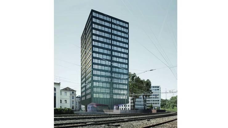 Das Hochhaus kommt entlang der Bahnlinie Baden-Turgi zu stehen.