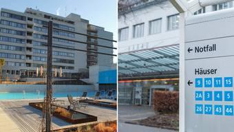 Die Rehaclinic Bad Zurzach (links) und das Kantonsspital Aarau haben Kurzarbeit beantragt.