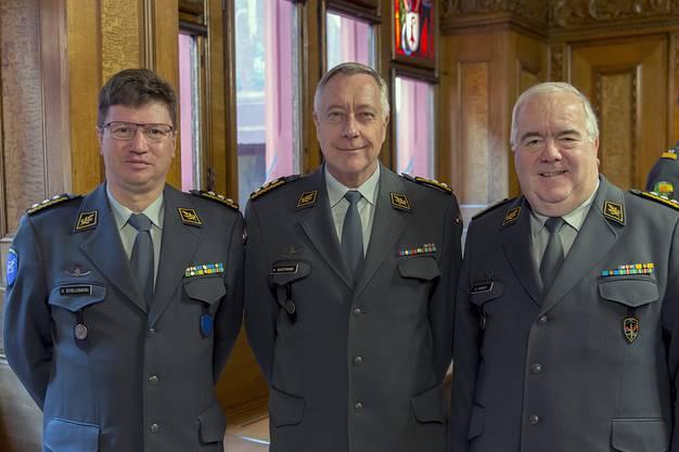 V. l. n. r.: Korpskommandant Aldo Schellenberg (Kommandant Luftwaffe), der Chef der Armee Andre Blattmann und Korpskommandant Dominique Andrey (Kommandant Heer).